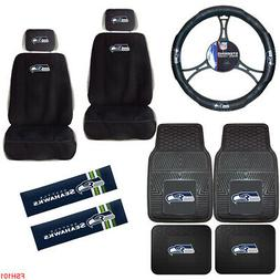 11PC NFL Seattle Seahawks Car Truck Seat Covers Floor Mats S