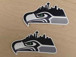 2x Seattle Seahawks Car Bumper Laptop Colored Vinyl Stickers