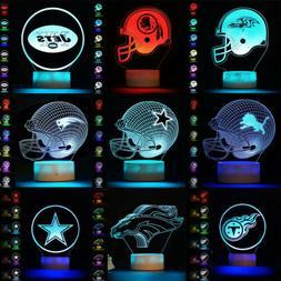 3D NFL Rugby Football Helmet Cap LED Night Light Table Lamp