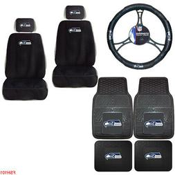 9PC NFL Seattle Seahawks Car Truck Seat Covers Floor Mats &