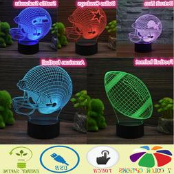 American 3D Football Helmet LED Night Lights 7 Color Touch H
