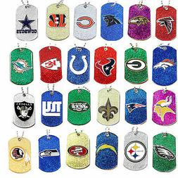 glitter dog tag necklace nfl pick your
