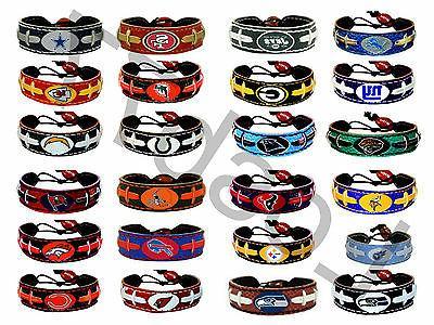 nfl official leather football bracelet all teams