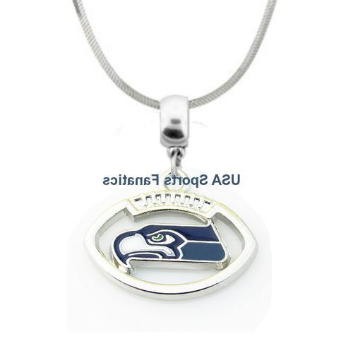 nfl seattle seahawks football logo pendant necklace