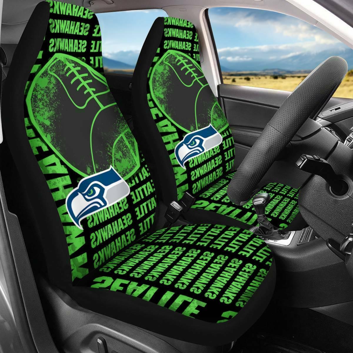 Seattle Seahawks Car Seat Covers 2PCS Pickup truck Seat Prot