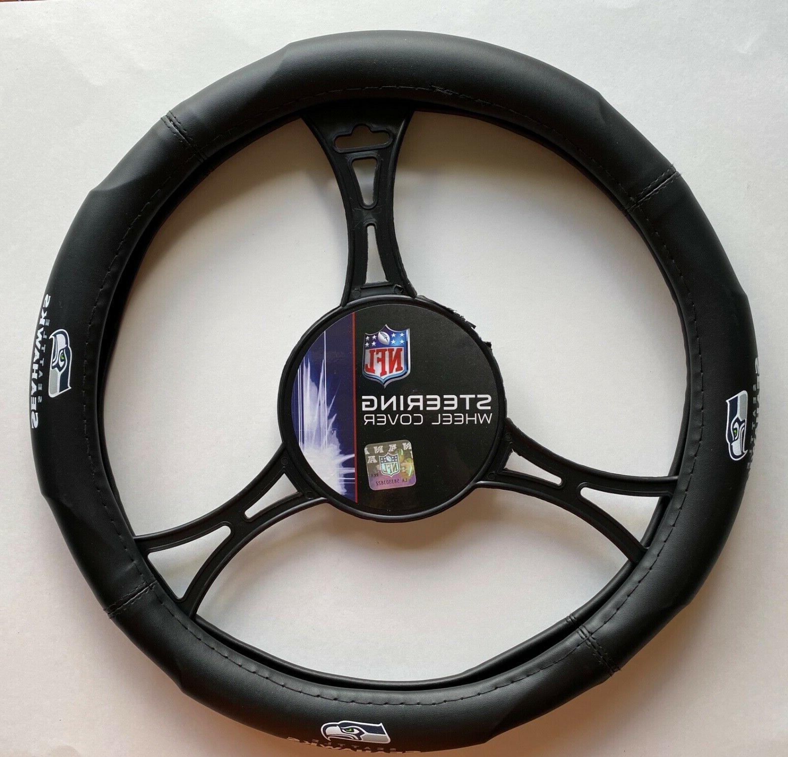 Seattle Seahawks Car Truck Black Steering Wheel Cover NFL