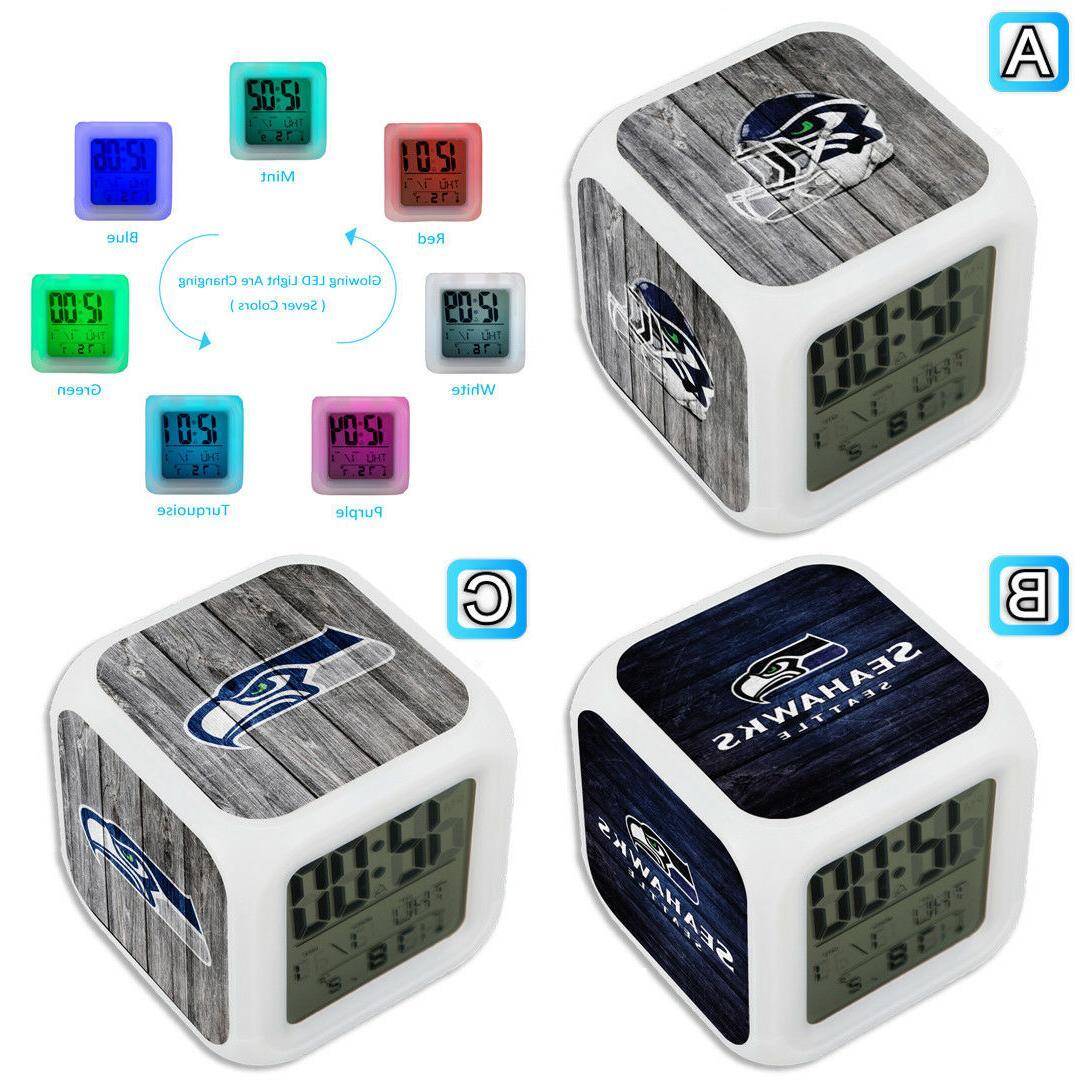 seattle seahawks digital led clock multi color