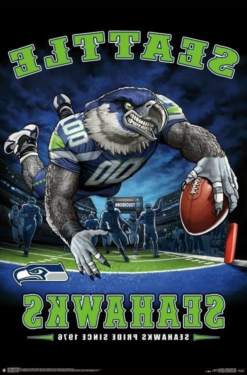 seattle seahawks end zone mascot poster 22x34