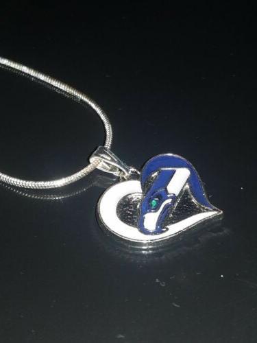 Seattle Seahawks Heart Necklace Sterling