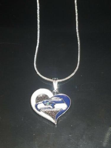 seattle seahawks heart pendant necklace sterling silver