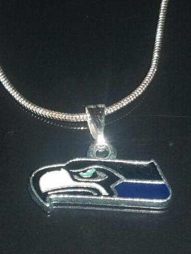 seattle seahawks logo necklace pendant sterling silver