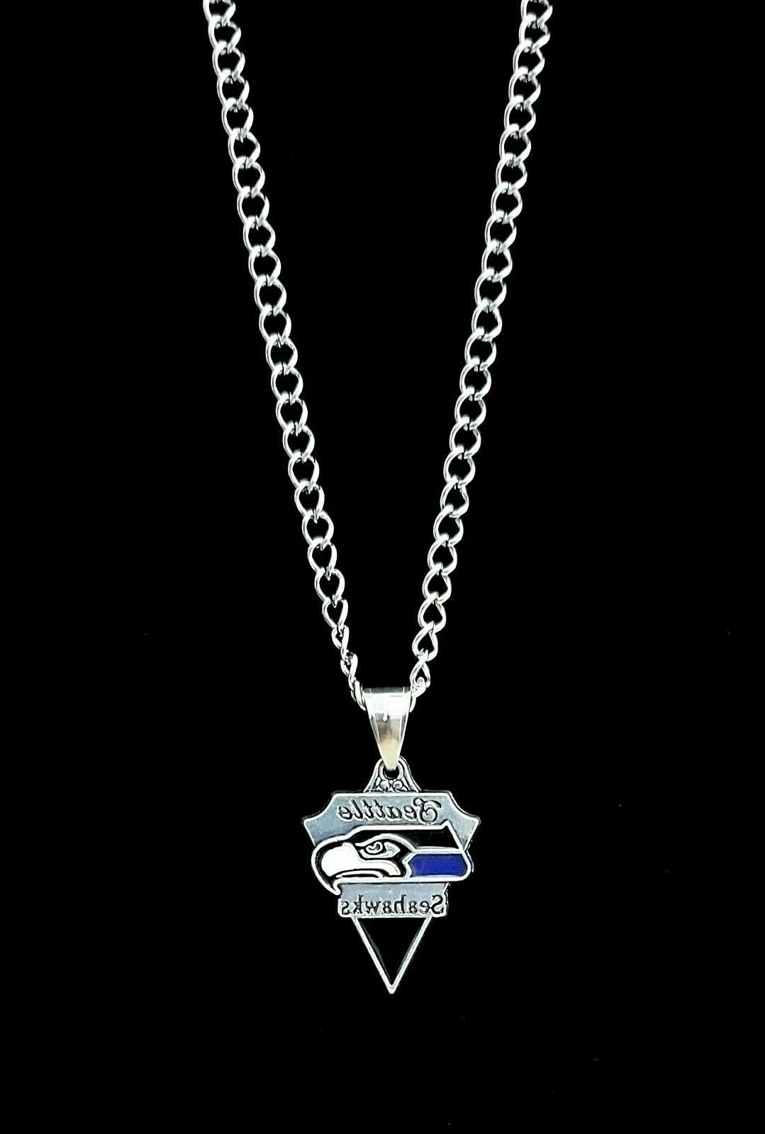 Seattle NFL Silver Link Chain Necklace Pendant