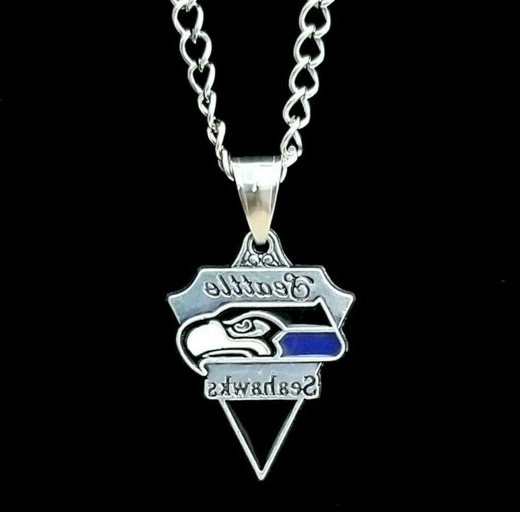 seattle seahawks nfl silver link chain necklace