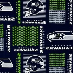 NFL Football Seattle Seahawks Neon Squares 18x29 Cotton Fabr