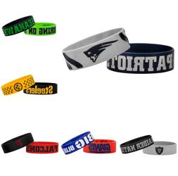 NFL Football Team Bulk Bandz Bracelets Wristband 2-Pack - Pi
