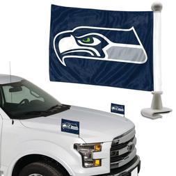 NFL Seattle Seahawks Ambassador Hood / Trunk Car Flag- Set o