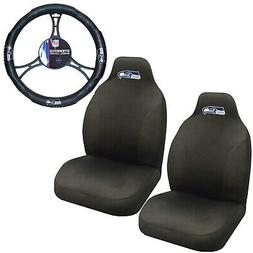NFL Seattle Seahawks Car Truck 2 Front Seat Covers & Steerin