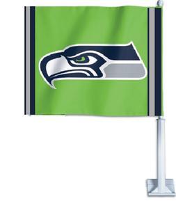 NFL Seattle Seahawks Fan Car/Auto Flag Double Sided & Pole F