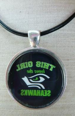 """"""" NFL SEATTLE SEAHAWKS """" Glass Pendant with Leather Necklace"""