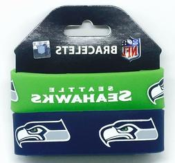 NFL Seattle Seahawks Silicone Rubber Bracelet, 2-Pack