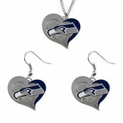 aminco NFL Seattle Seahawks Swirl Heart Necklace