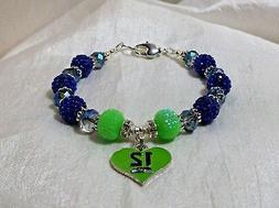Seattle Seahawks~12th Man Charm~Bracelet~Jewelry~Russell Wil
