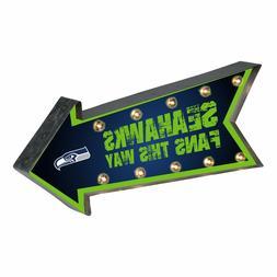 Seattle Seahawks Arrow Marquee Sign - Light Up - Room Bar De