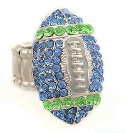 Seattle Seahawks Blue & Green Rhinestone Football Ring Women