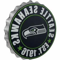 Seattle Seahawks Bottle Cap Sign - Est 1976 - Room Bar Decor