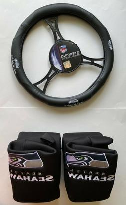 Seattle Seahawks Car Truck 2 Front Seat Covers & Steering Wh