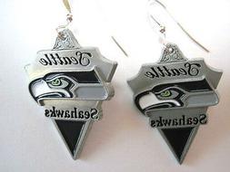 SEATTLE SEAHAWKS Earrings Pewter Charm Sterling Earwires, Je