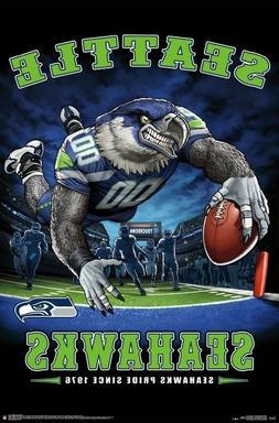 SEATTLE SEAHAWKS - END ZONE MASCOT POSTER - 22x34 NFL FOOTBA