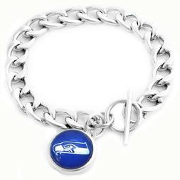 Seattle Seahawks Football Bracelet Silver Link Gift Jewelry