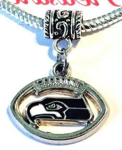 Seattle Seahawks Football Dangle Pendant Charm for Charm Bra