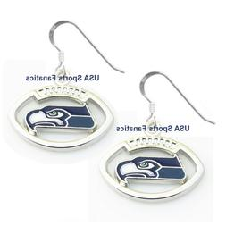 Seattle Seahawks Football Logo Pendant Earrings With 925 Ear