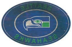 Seattle Seahawks Heritage Retro Throwback Oval Large Wood Si
