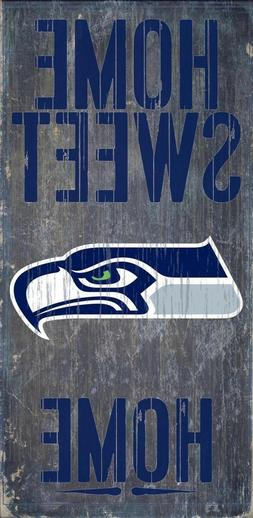 "Seattle Seahawks Home Sweet Home Wood Sign - NEW 6"" x 12"" Wa"