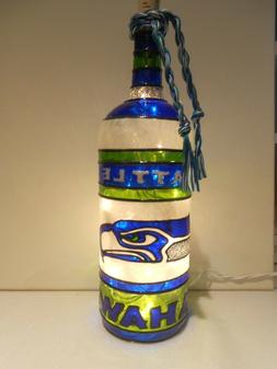 Seattle Seahawks Inspiered Bottle Lamp handpainted Stained G