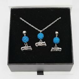 Seattle Seahawks Jewelry Bead Crystal Necklace and Earrings