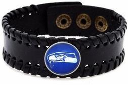 Seattle Seahawks Men's Women's Black Leather Bracelet Footba