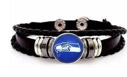 Seattle Seahawks Mens Womens Black Leather Bracelet Football