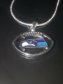 Seattle Seahawks Necklace Pendant Sterling Silver Chain NFL