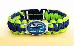 Seattle Seahawks NFL Paracord Football Glass Logo Team Wrist