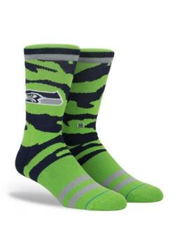 Seattle Seahawks Stance NFL Tigerstripe Logo Crew Socks Larg