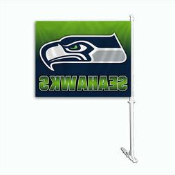 Seattle Seahawks Ombre Printed Car Auto Window Flag