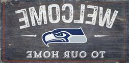 """Seattle Seahawks Welcome to our Home Wood Sign - NEW 12"""" x 6"""
