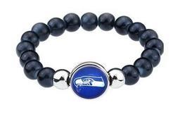 Seattle Seahawks Women's Men's Black Beaded Chain Bracelet +