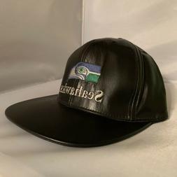 Vintage Seattle Seahawks Leather Black Baseball Cap Hat JH D